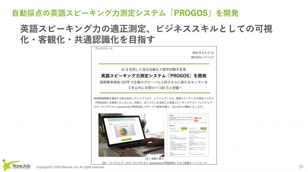 レアジョブ:自動採点の英語スピーキング力測定システム「PROGOS」を開発