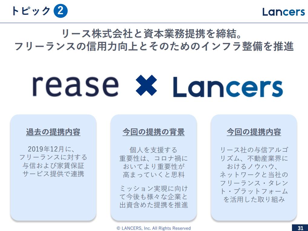 ランサーズ:リース株式会社と資本業務提携を締結