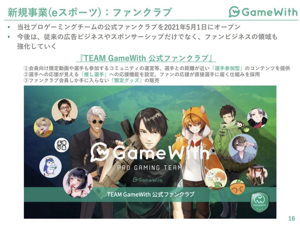 gamewith:新規事業(eスポーツ)ファンクラブ事業業績