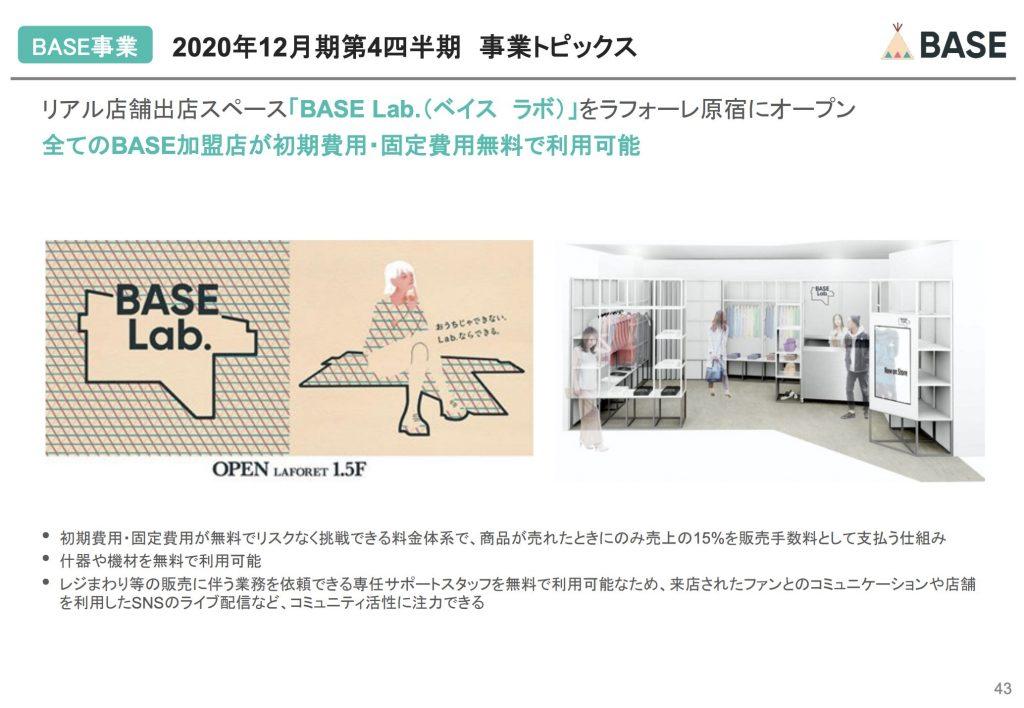 BASE:2020年12月期第4四半期 事業トピックス
